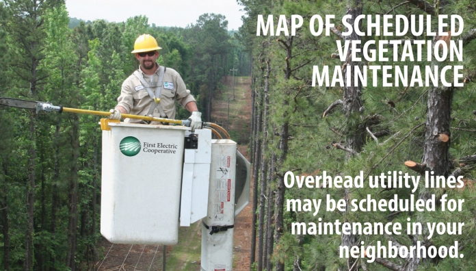 Map of scheduled vegetation maintenance